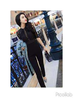 BNWOT Black Eyelash Lace Jumpsuit