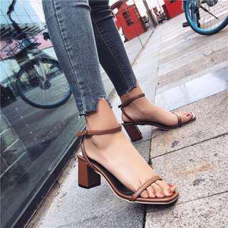 🚚 Korean Brown Sandal Heels