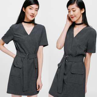 Love Bonito Glada Belted Pocket Dress (Heather Grey) XS
