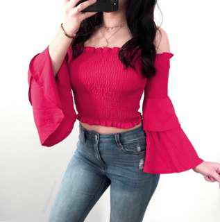 BNWOT Deep Red/ Burgandy Smocked Off Shoulder Top