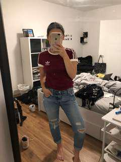 Adidas - Burgundy three stripes tshirr
