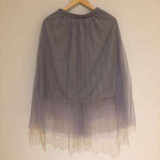 Grey Tulle Midi Skirt - Small