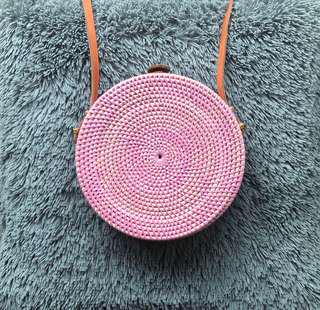 Cute rattan circle purse  - pink