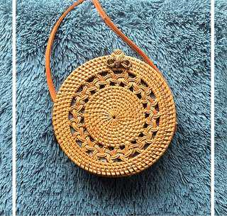 Rattan braided circle purse - tan