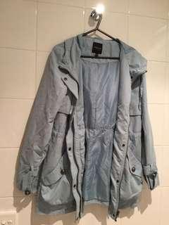 Baby Blue Hooded Thin Coat
