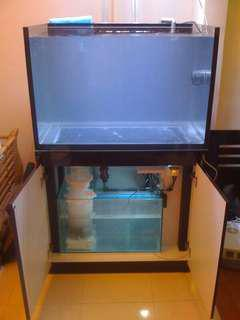 3ft tank with cabinet and sump