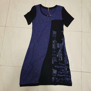 🚚 [CLEARANCE] Blue Black Stripped Graffiti Short Sleeve Dress