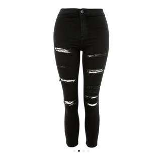 Top shop Joni black ripped jeans