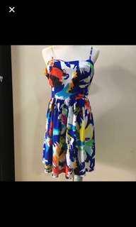 CLEARANCE SALES {Women's Fashion - Dress} BN NLW Brand Beautiful Rainbow Print Spaghetti Top Sleeveless Ladies Dress With Side Pockets & Back Center Zip
