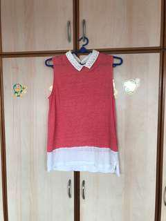 🚚 Free mailing! Tommy Hilfiger watermelon Salmon Pink Collared Tank Top