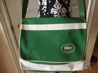 Lacoste Crossbody Laptop & Messenger Bag Durable Green and White
