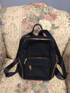 Gold and Navy Blue Zipper Backpack