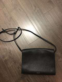 Aritzia auxiliary crossbody large leather black bag