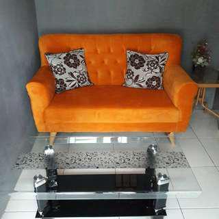Sofa 2 seater + meja kaca