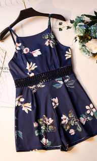 Navy Blue Floral Lace Romper