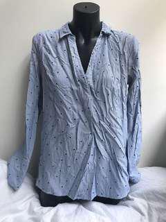 Ladies blue stripped blouse with black velvet stars