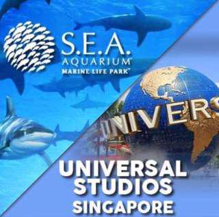 IMMED ISSUE & Cheapest : Universal Studio Sentosa Singapore USS 2. S.E.A Aquarium 海洋馆 ( SEA ) Sentosa Physical ticket e Tickets etickets  3. Adventure Cove Waterpark attraction eticket at sentosa water park Open dated