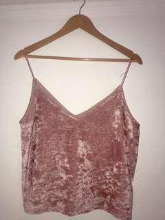 H&M pink velvet top