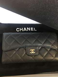 🚚 Chanel荔枝皮金釦三折長夾