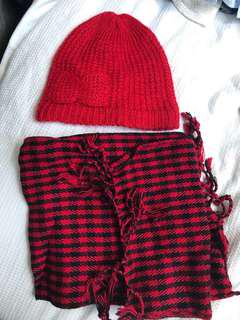 Free with purchase Red scarf and beanie combo