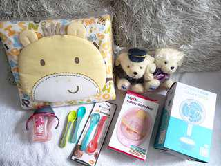 7 x Baby gift set (Blanket, pram fan, sippy cup, spoons, soft toy)