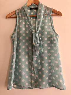 Mint green polka dot blouse