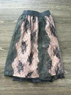 pink and black lace skirt