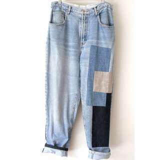 Vintage Denim Jeans Patchwork Boyfriend Fit Waist 33-34 inch