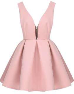 pink zippered plunge V dress
