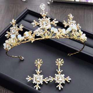 Bridal Hair Accessories crown tiara princess tiara and earring