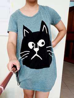 🚚 燈籠長版上衣可愛貓咪寬鬆大碼舒適