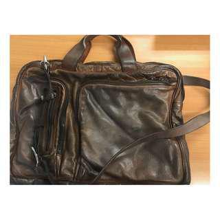 Vintage Rich Distressed Brown Leather Numero 10 Messenger Sling Bag
