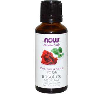 Rose Absolute Essential Oil [5% Grapeseed Oil Blend], Now Foods (30ml)