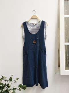 overall jeans stripe