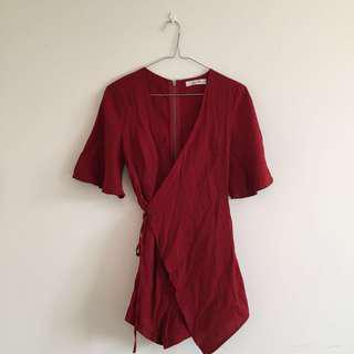 Red Wrap Playsuit 🍒