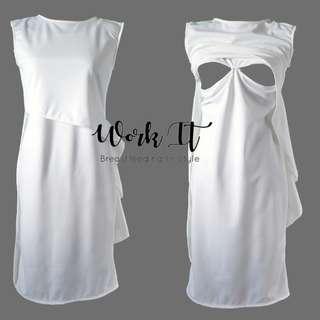 Laiza Dress Nursing Clothes (White)
