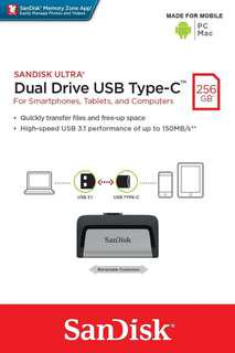 Brand new SanDisk Dual Drive Type C 256Gb selling at $108.90