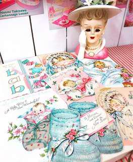 🚚 Vintage cards -baby card 美國古董卡片 寶寶祝賀卡  拍照道具 粉紅寶寶卡 手作素材
