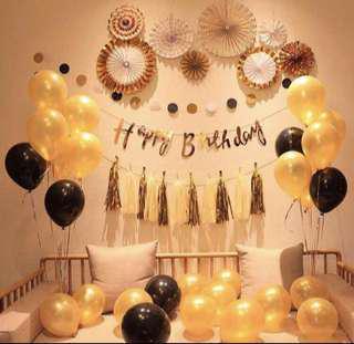 Black & Gold Party Set/Helium Balloons