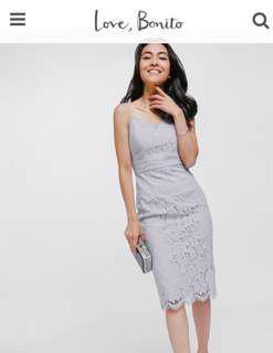 LB Grey Dafena Lace Midi Dress XXS