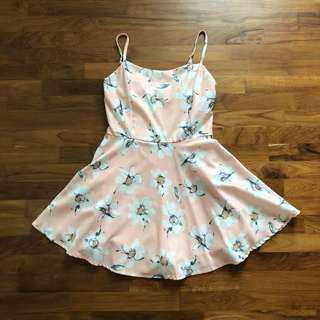 peach pink Floral Romper dress