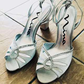 Nina White Silver Heels