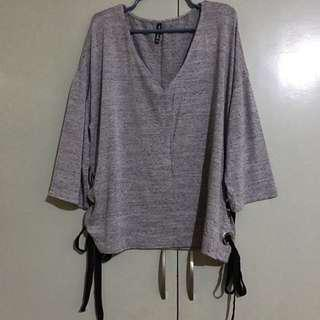 Stradivarius gray top with side details