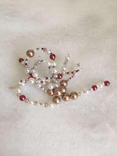 Hair pin merah gold putih - chinese style