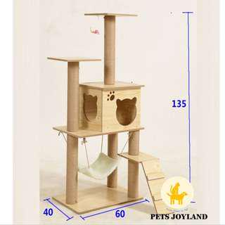 [FREE DELIVERY] Affordable Wooden 140cm Tall Cat Condo Scratching Tree Post