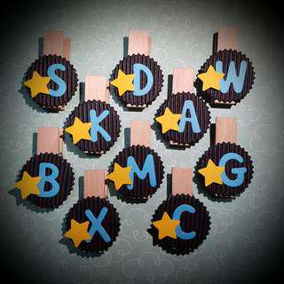 Hand-decorated Clips with Initial (Children's Day)
