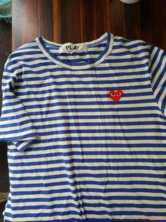 Comme des garcon stripe Tshirt blue replica