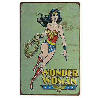 Wonder Woman Vintage Tin Metal Justice League Poster Superhero Wall Display