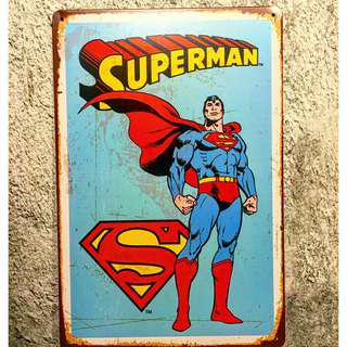 Superman Vintage Tin Metal Justice League Poster Superhero Wall Display 8x12