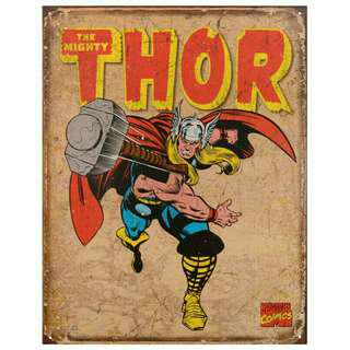 Thor Vintage Tin Metal Marvel Avengers Poster Superhero Wall Display 8x12
